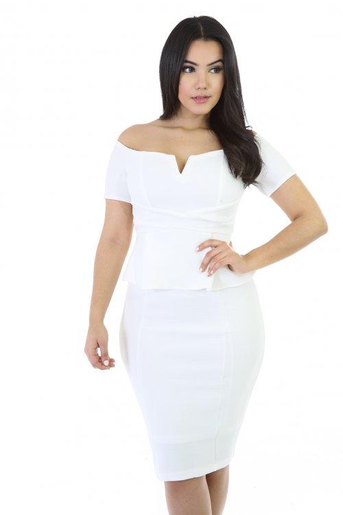 Off-Shoulder V-Neck Midi Dress