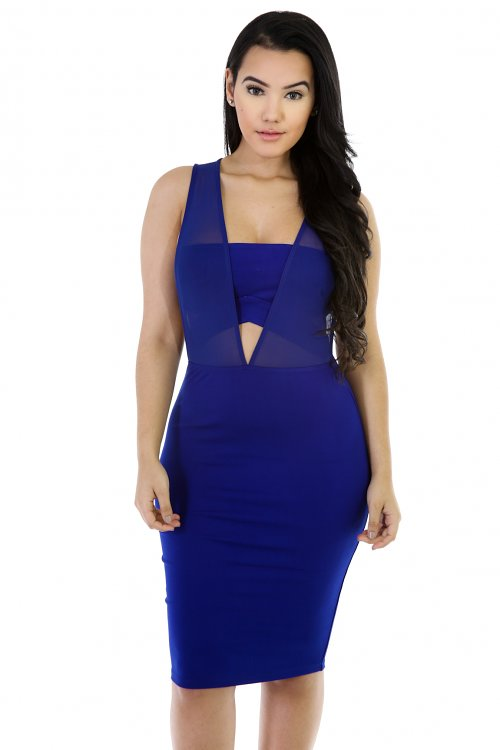 Semi-Mesh Bodycon Dress