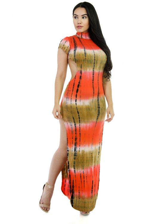 Tie Dye- Exposed Back Maxi Dress