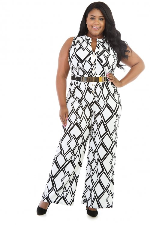 Triangular Print Fit Jumpsuit