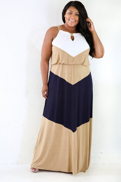 Triple Color Stretchy Maxi Dress