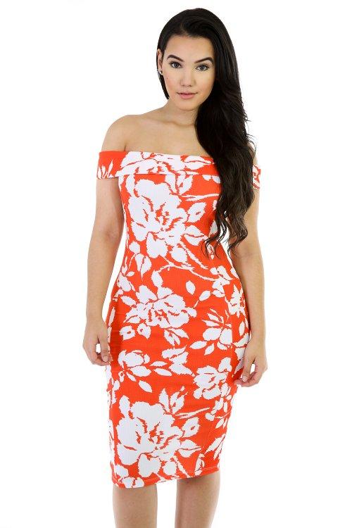 Off The Shoulder Fit Mini Dress