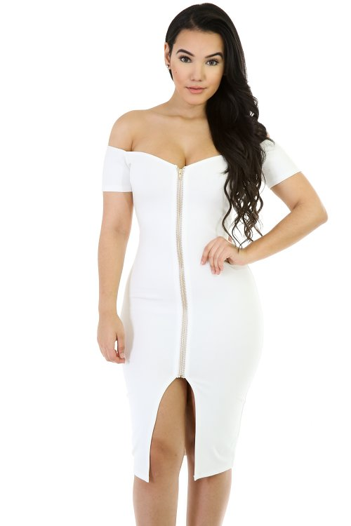 Off The Shoulder ZipUp Dress