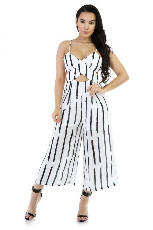 Stiletto Black an White Jumpsuit