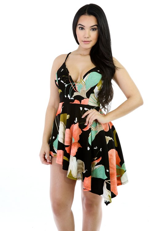 Fashion Floral Symmetrical Mini Romper