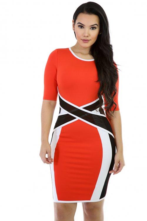Mesh Waist Bodycon Dress