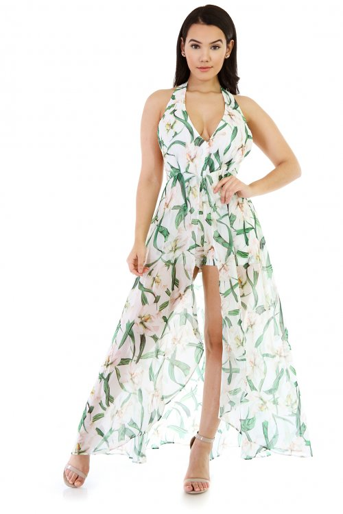 Maxi Green Low-High Dress
