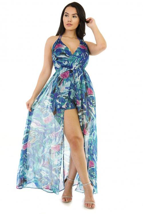 Roped Halter Neck Maxi Floral Dress