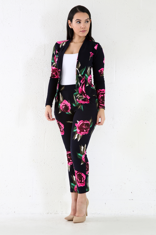 Tropical Stretchy Two-Piece Pants Set