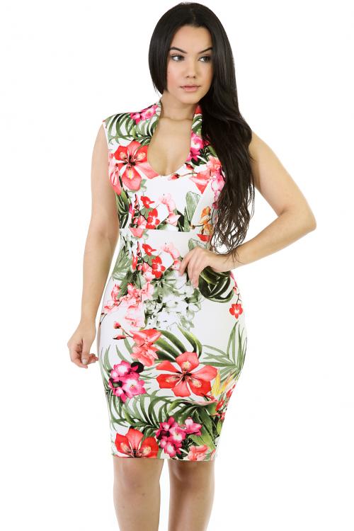 Floral Sleevless Midi Stretchy Dress