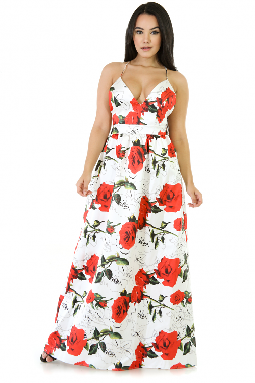 Floral Exposed Back Flare Dress