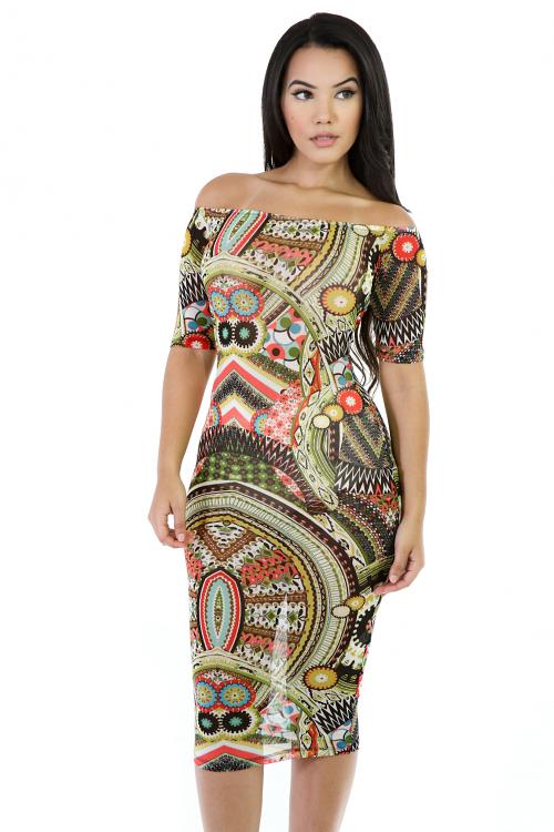 Off Shoulder Mesh Colorful Midi Dress