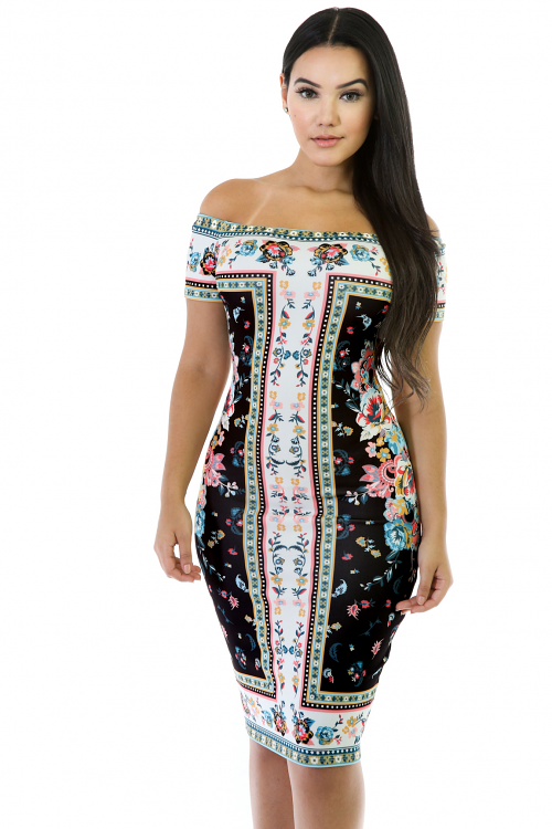 Messy Floral Midi Dress