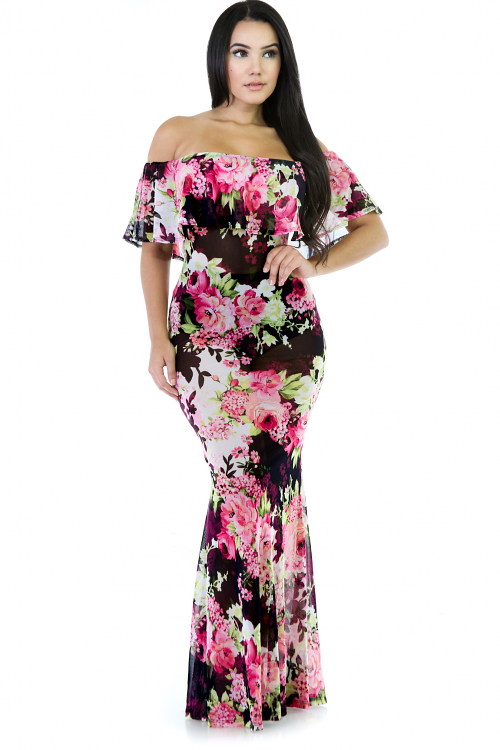Jessie Floral Mesh Long Maxi Dress