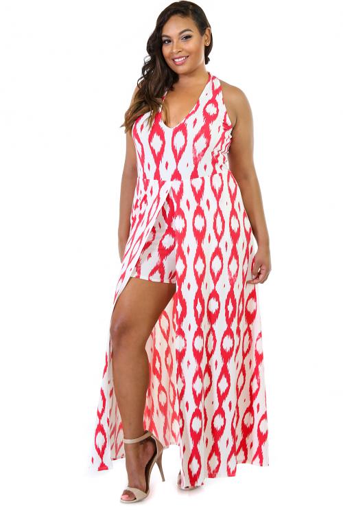 Halter Neck Stretchy Maxi Short Dress