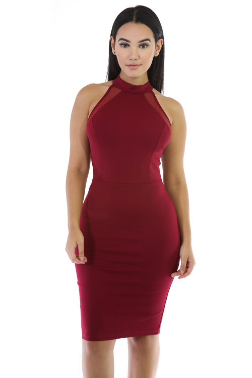 Halter Neck Midi Stretchy Dress