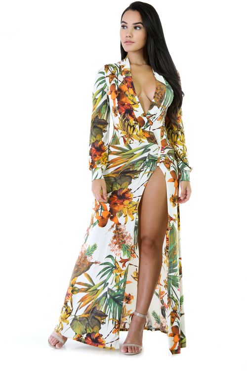 Dole Maxi Stretchy Long Sleeve Dress