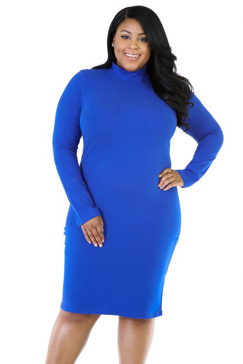 Long Sleeve Turtleneck Bodycon Dress
