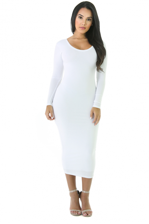 Jersey Knit Long Sleeve Midi Dress