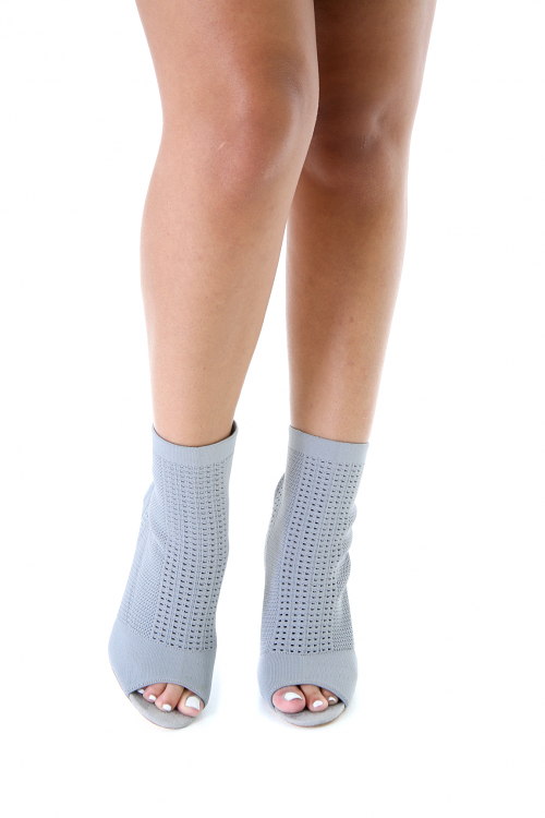 Peep Toe Knit Ankle Booties