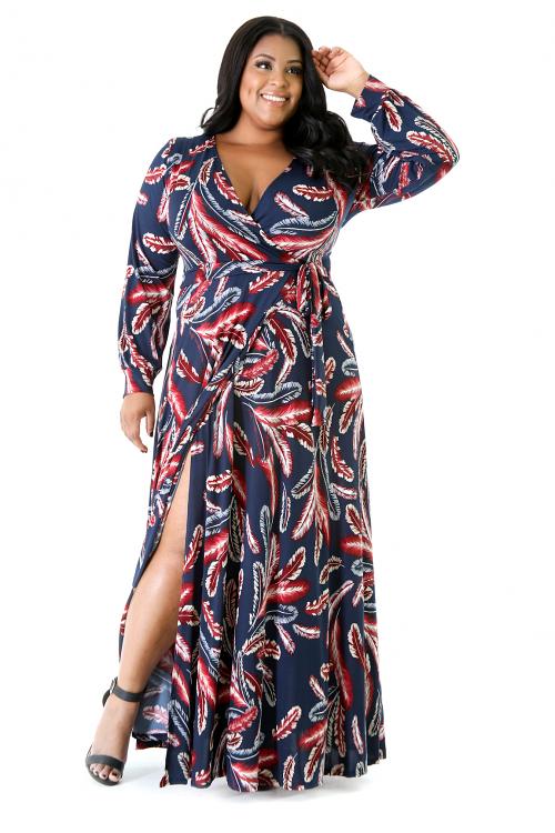 Feathers Long Sleeve Maxi Dress