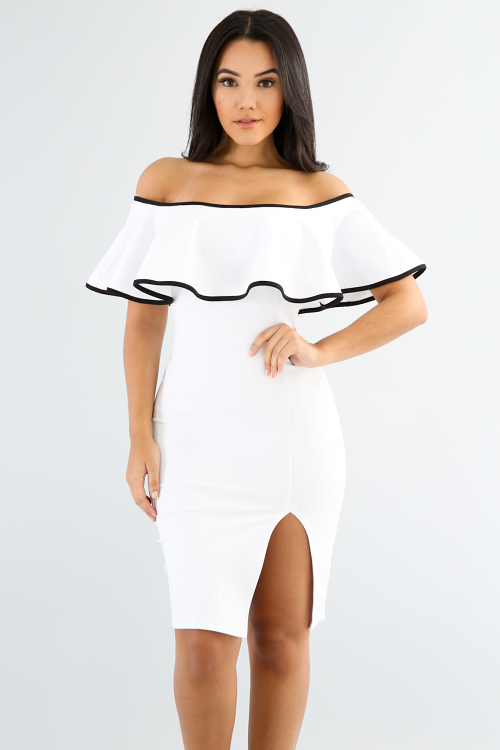 Off Shoulder Tiered Ruffle Dress