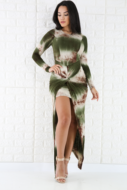 Tie Dye Drape Front Slit Maxi Dress