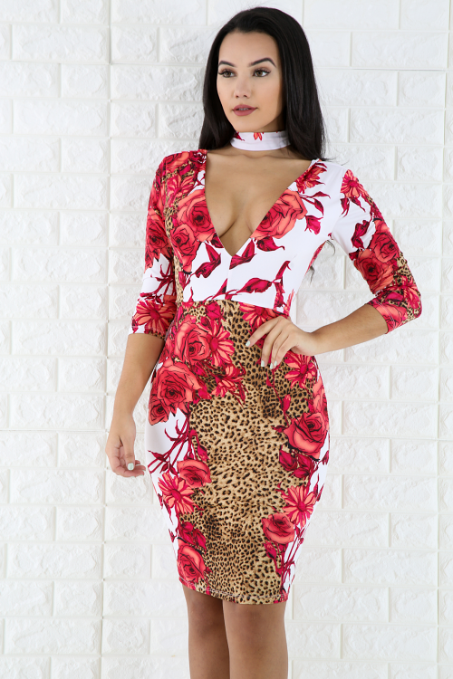 Rose Choker Bodycon Dress
