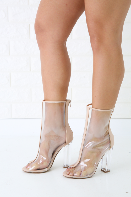 Transparent Chunky Heeled Open Toe Boot