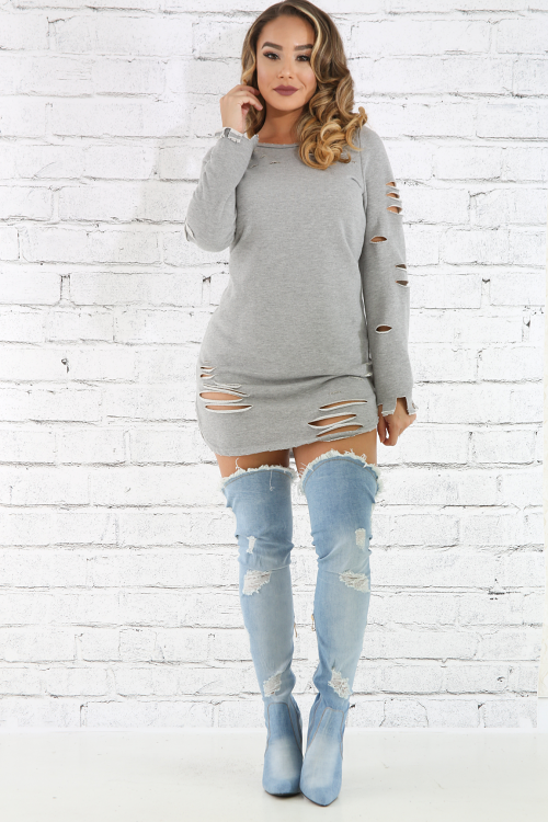 Distressed French Terry Dress