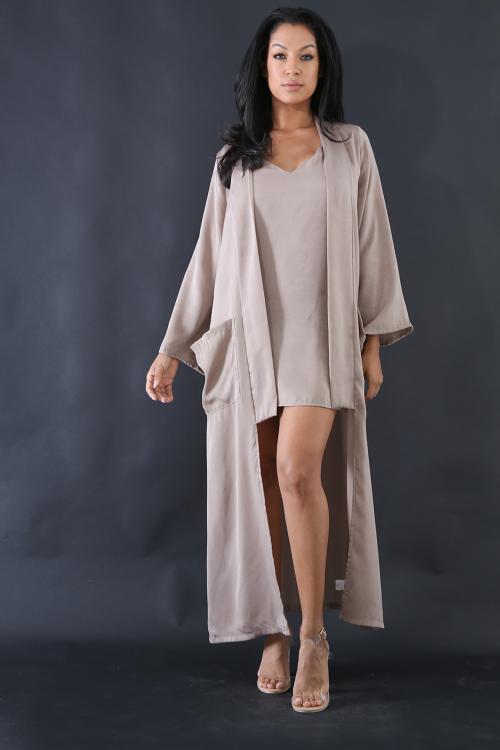 Criss Cross Back Silk Dress Set