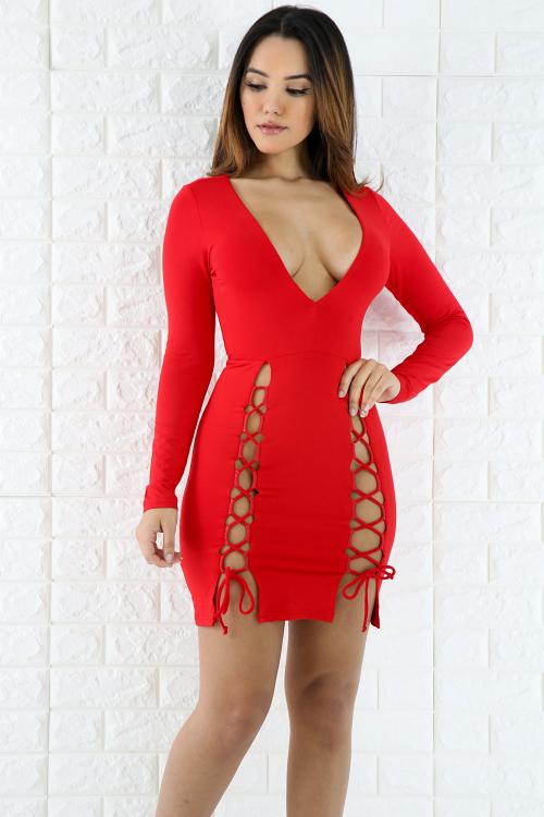 Deep V-Neck Lace Up Mini Dress