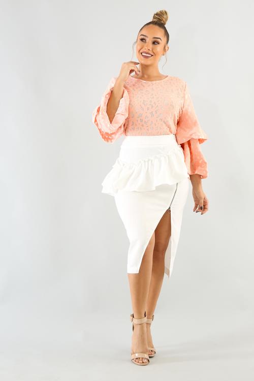 Ruffle Zip Up Skirt