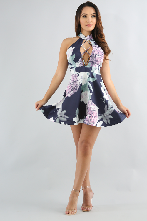 Floral Cage Flare Dress