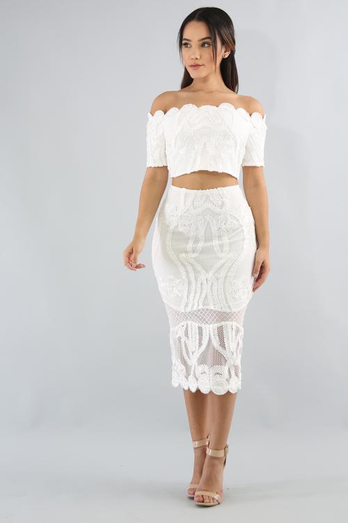 Off Shoulder Crochet Skirt Set