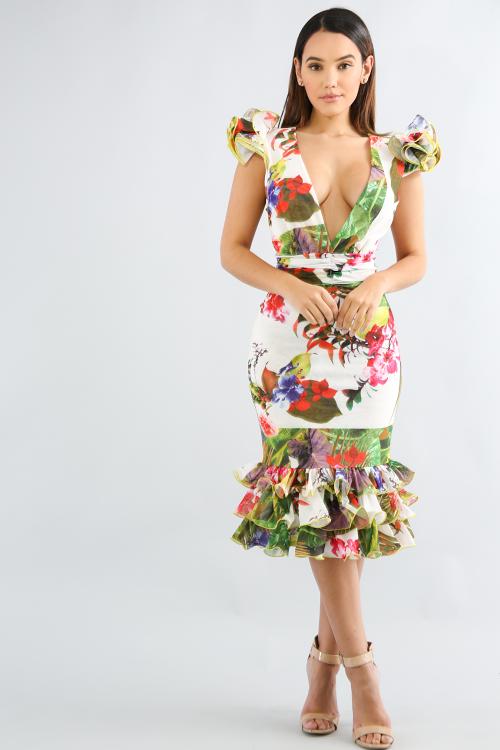 Swirled Shoulder Maxi Dress
