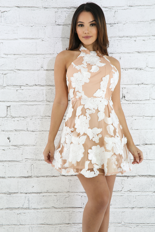 Textured Crochet Swirl Dress