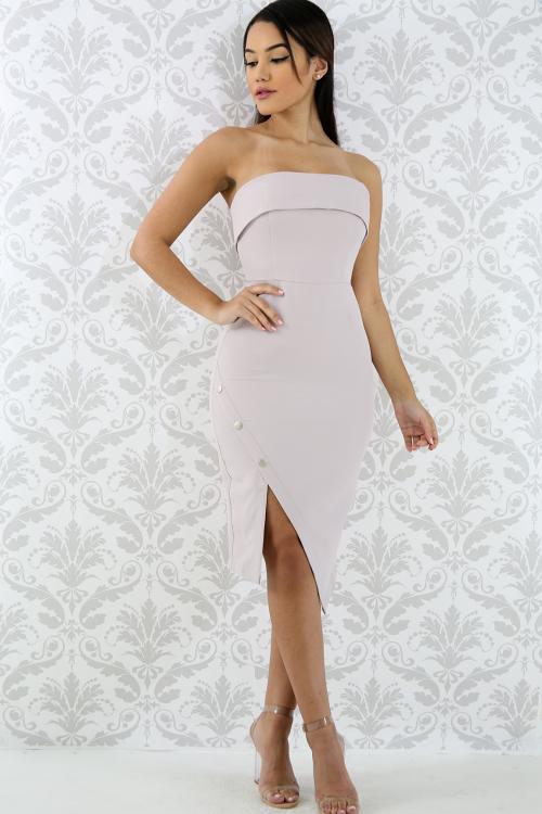 Button Up Tube Body-Con Dress