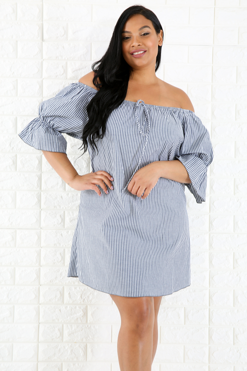 Denim Striped Ruffled Dress