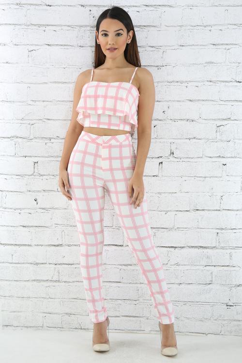 Checkered Pant Set