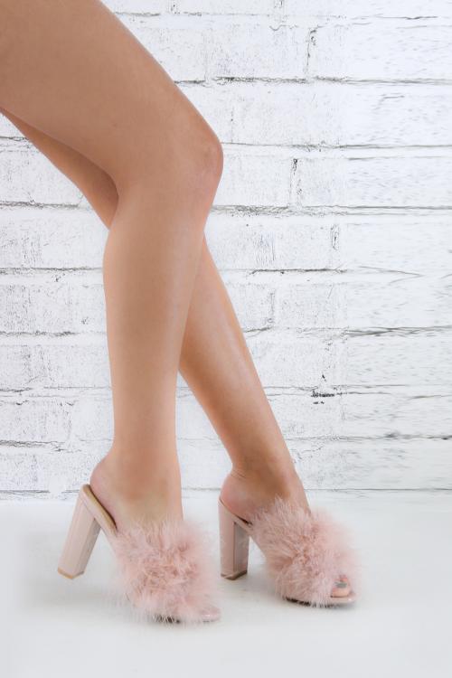 Faux Fur Chunky Platform Mule Heel