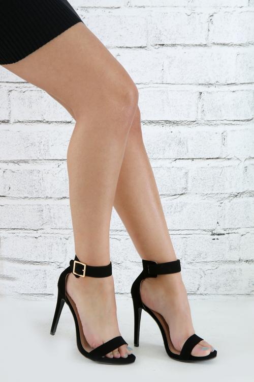 Denim Open Toe Ankle Strap Stiletto Heel