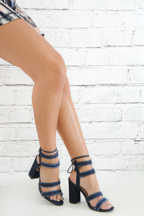 Denim Lace-Up Open Toe Lucite Chunky Heel