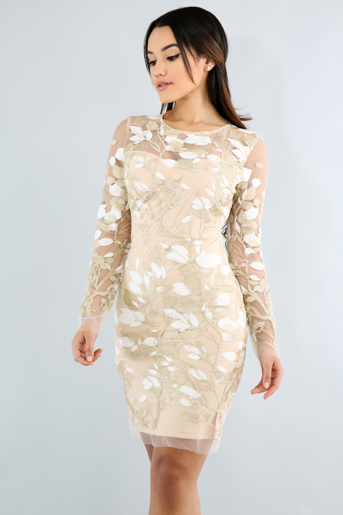 Golden Leaves Body-Con Dress