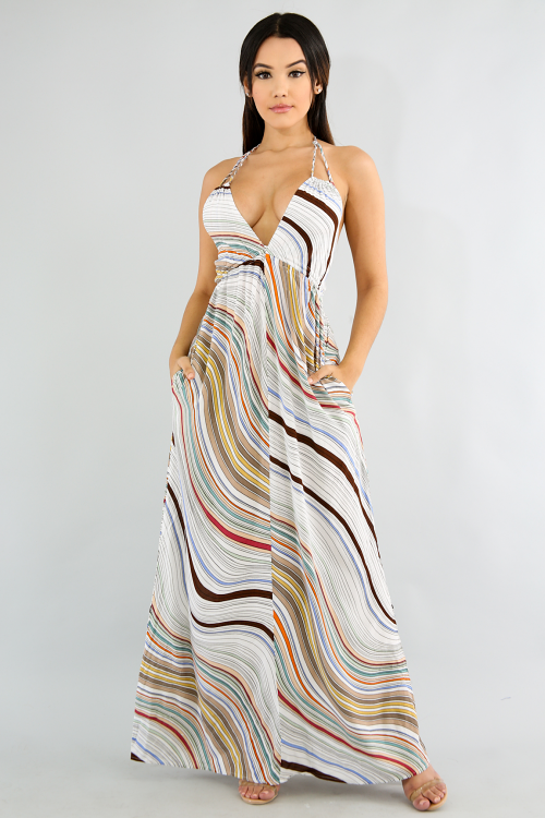 Summer Striped Maxi Dress