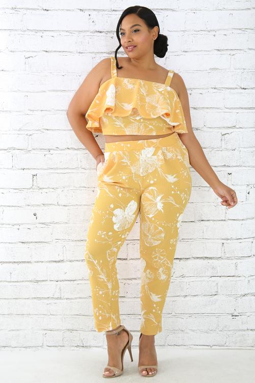 Floral Sleeveless Pants Set