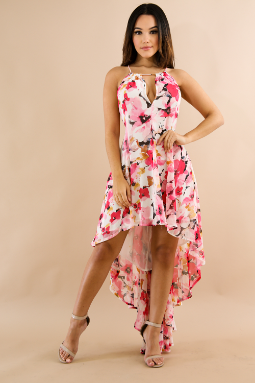 High-Low Cherry Blossoms Maxi Dress