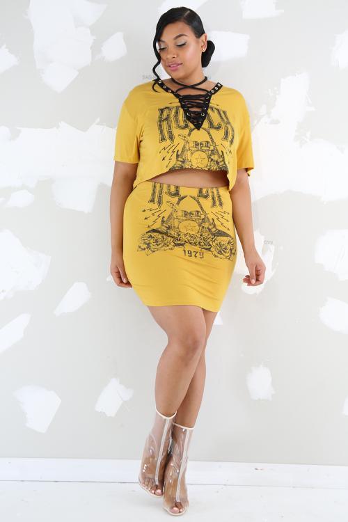 Rock Corset Skirt Set