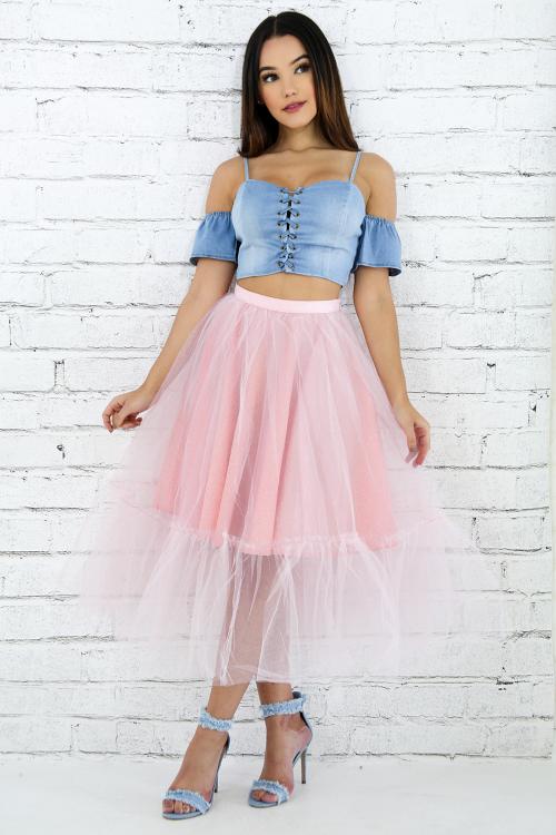 Raw Edge Sheer Tull Skirt