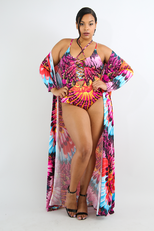 Exotic Feather Swimsuit Set